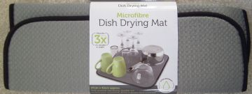 GREY Microfibre Dish Drying Mat 42x47cm Sink Drainer Washing Up